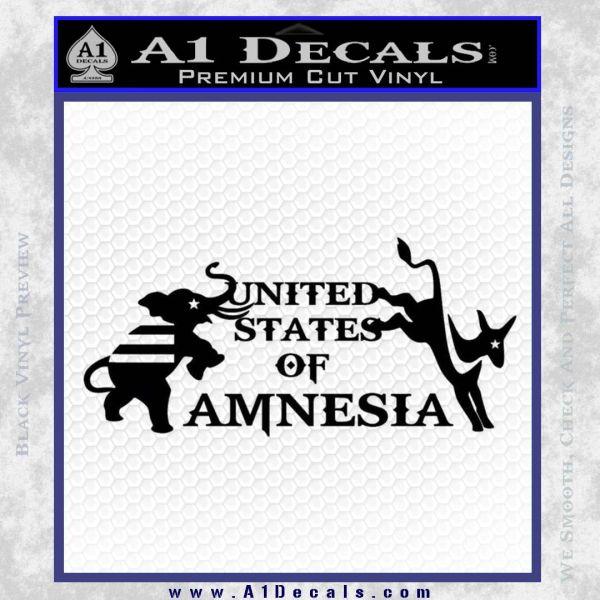 United States Of Amnesia N1 Decal Sticker Black Vinyl