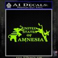 United States Of Amnesia N1 Decal Sticker Lime Green Vinyl 120x120