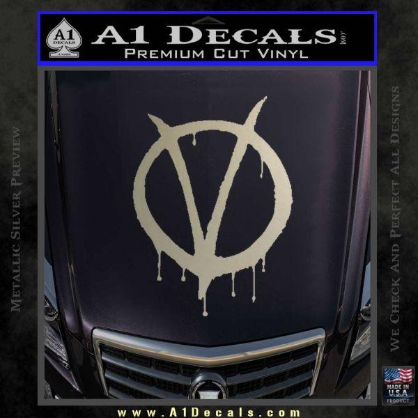 V for vendetta bloody d1 decal sticker metallic silver emblem 120x120