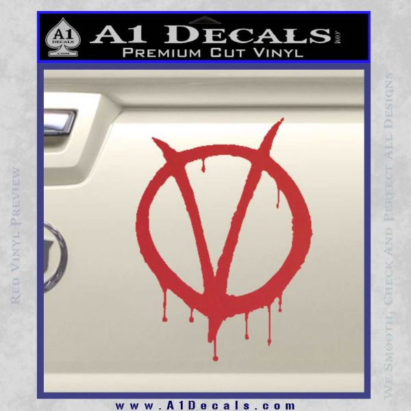 V For Vendetta Bloody D1 Decal Sticker Red