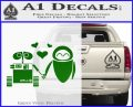 Wall e and Eve Love Decal Sticker Green Vinyl Logo 120x97