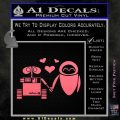 Wall e and Eve Love Decal Sticker Pink Emblem 120x120