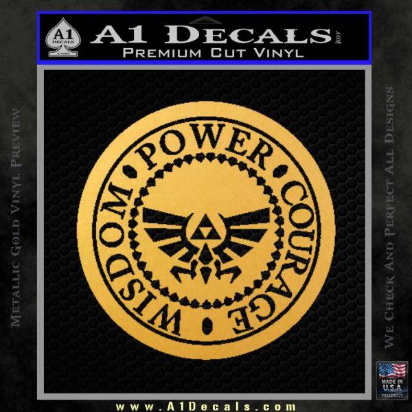 Zelda Power Courage Wisdom Triforce Decal Sticker Gold Vinyl