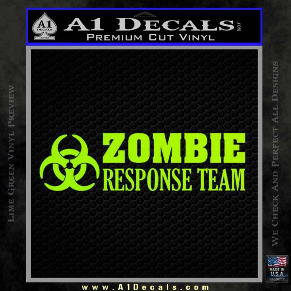 Zombie Response Team Decal Sticker Lime Green Vinyl