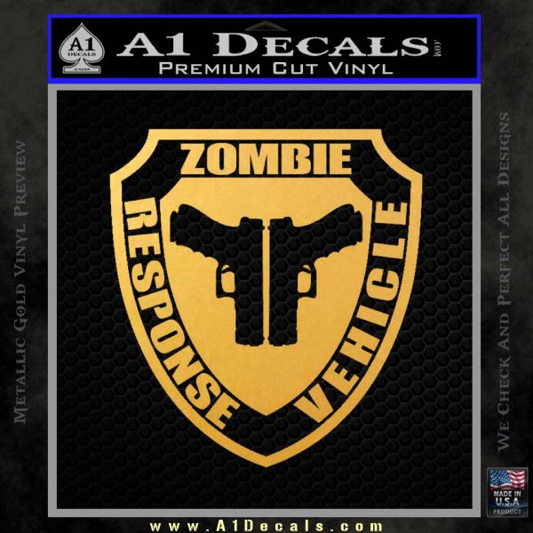 Zombie Response Vehicle Badge Decal Sticker Gold Vinyl