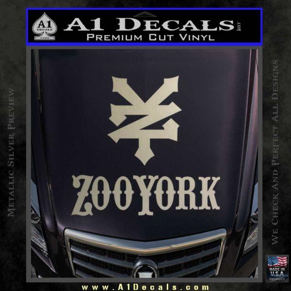 Zoo york decal sticker full metallic silver emblem 120x120