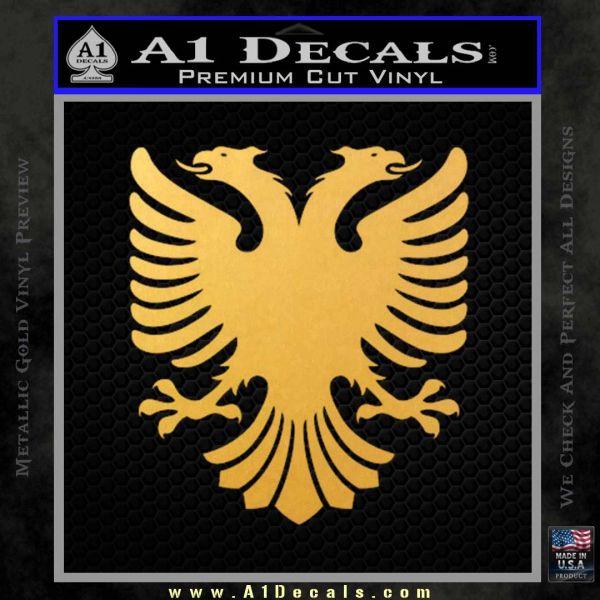 Albanian Eagle Flag Emblem Logo D1 Decal Sticker Gold Vinyl