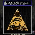 All Seeing Eye Decal Sticker Gold Vinyl 120x120