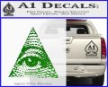 All Seeing Eye Decal Sticker Green Vinyl Logo 120x97