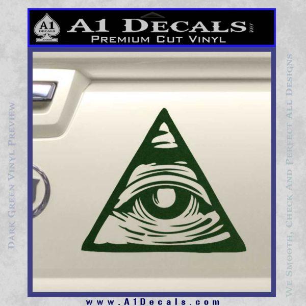 All Seeing Eye Nwo Illuminati D3 Decal Sticker Dark Green Vinyl