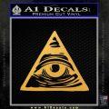 All Seeing Eye Nwo Illuminati D3 Decal Sticker Gold Vinyl 120x120