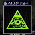 All Seeing Eye Nwo Illuminati D3 Decal Sticker Lime Green Vinyl 120x120