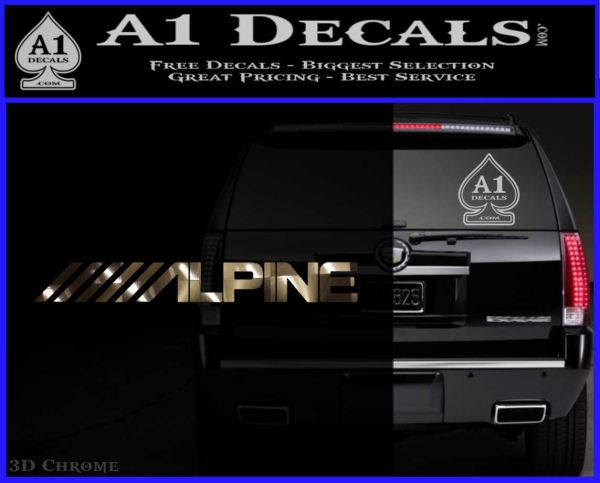 Alpine audio decal 2 pack 3dchrome vinyl 120x97