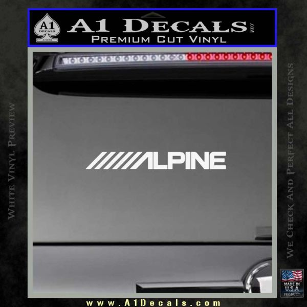 Alpine audio decal 2 pack gloss white vinyl 120x120