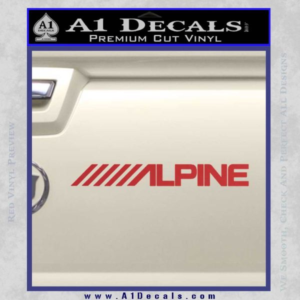 Alpine audio decal 2 pack red