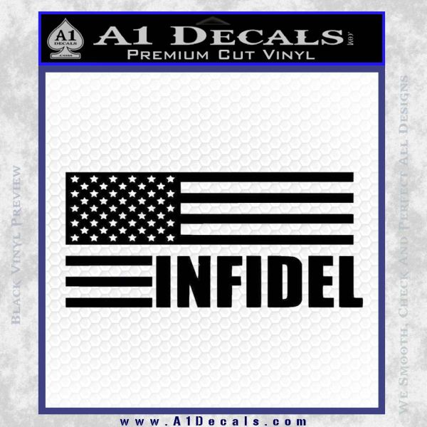 American Infidel Flag D2 Decal Sticker Black Vinyl