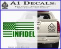 American Infidel Flag D2 Decal Sticker Green Vinyl Logo 120x97