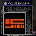 American Infidel Flag D2 Decal Sticker Orange Emblem 120x120
