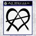 Anarchy Heart Decal Sticker Black Vinyl 120x120