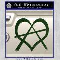 Anarchy Heart Decal Sticker Dark Green Vinyl 120x120