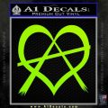 Anarchy Heart Decal Sticker Lime Green Vinyl 120x120