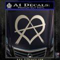 Anarchy Heart Decal Sticker Metallic Silver Emblem 120x120