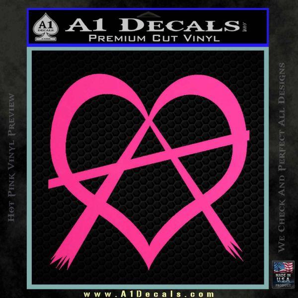 Anarchy Heart Decal Sticker Pink Hot Vinyl