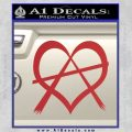 Anarchy Heart Decal Sticker Red 120x120
