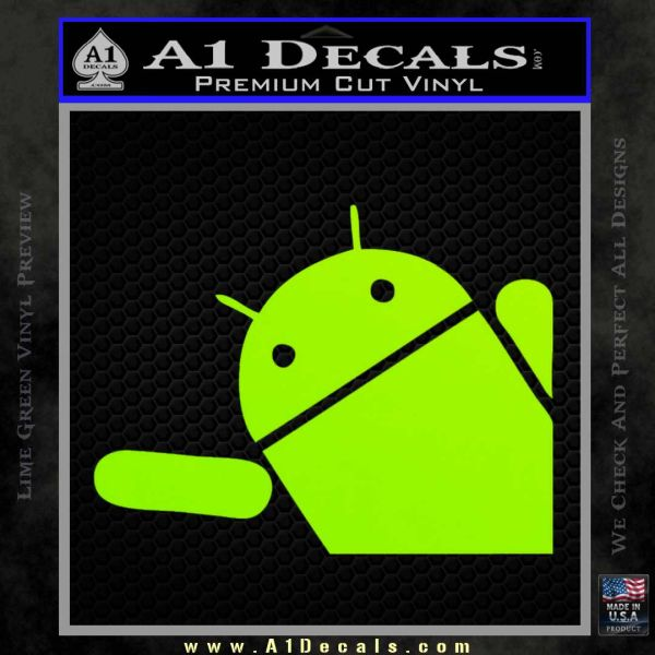 Android Corner Wave Decal Sticker Lime Green Vinyl