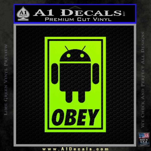 Android Obey Full Decal Sticker Lime Green Vinyl