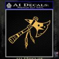 Indian Tomahawk Decal Sticker Gold Vinyl 120x120