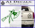 Indian Tomahawk Decal Sticker Green Vinyl Logo 120x97