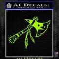 Indian Tomahawk Decal Sticker Lime Green Vinyl 120x120