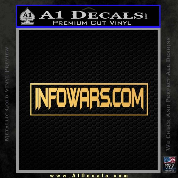 Infowars Dot Com D2 Decal Sticker Gold Vinyl