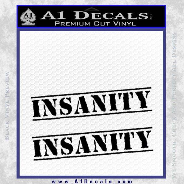 Insanity Workout D1 Decal Sticker Black Vinyl