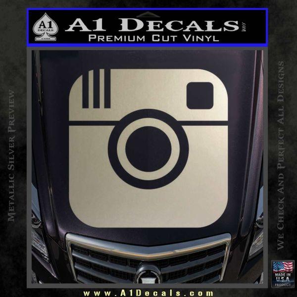 Instagram sq decal sticker metallic silver emblem 120x120