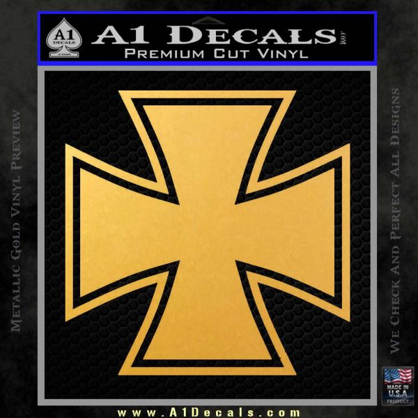 Iron Cross Decal Celtic Sticker D1 Gold Vinyl