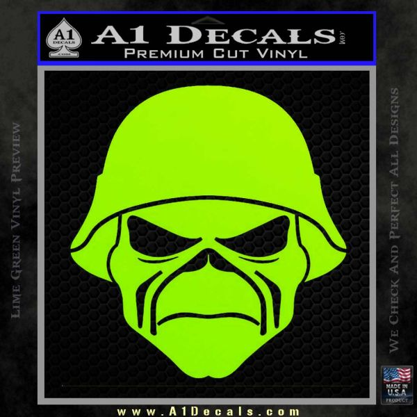 Iron maiden army skull decal sticker lime green vinyl 120x120