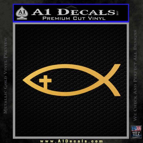 Jesus Fish Cross Decal Sticker Gold Vinyl