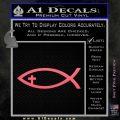Jesus Fish Cross Decal Sticker Pink Emblem 120x120
