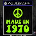 Made In 1970 Decal Sticker Lime Green Vinyl 120x120