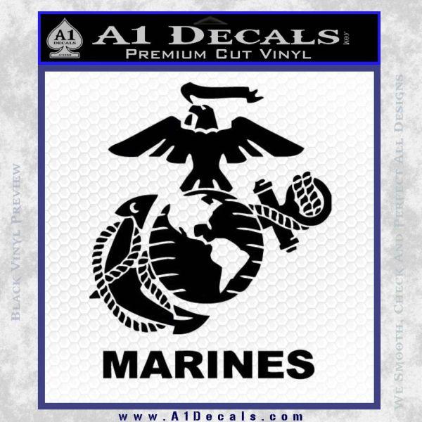 Marines Decal Sticker Full Black Vinyl