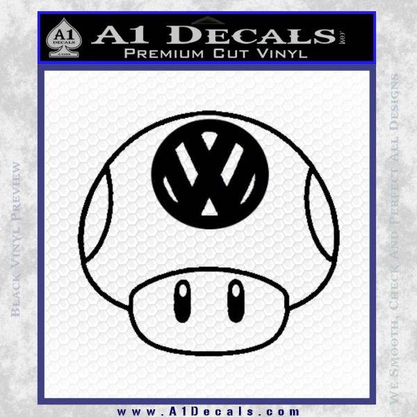Mario Mushroom VW D1 Decal Sticker Black Vinyl