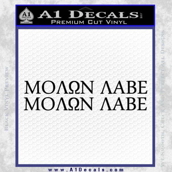 Molon Labe 2 Pack Decal Sticker Black Vinyl