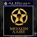 Molon Labe Ammo Star Skull Decal Sticker Gold Vinyl 120x120