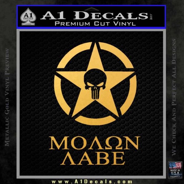 Molon Labe Ammo Star Skull Decal Sticker Gold Vinyl