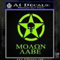 Molon Labe Ammo Star Skull Decal Sticker Lime Green Vinyl 120x120