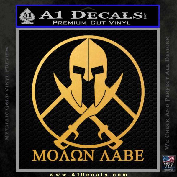 Molon Labe C1 Decal Sticker Gold Vinyl