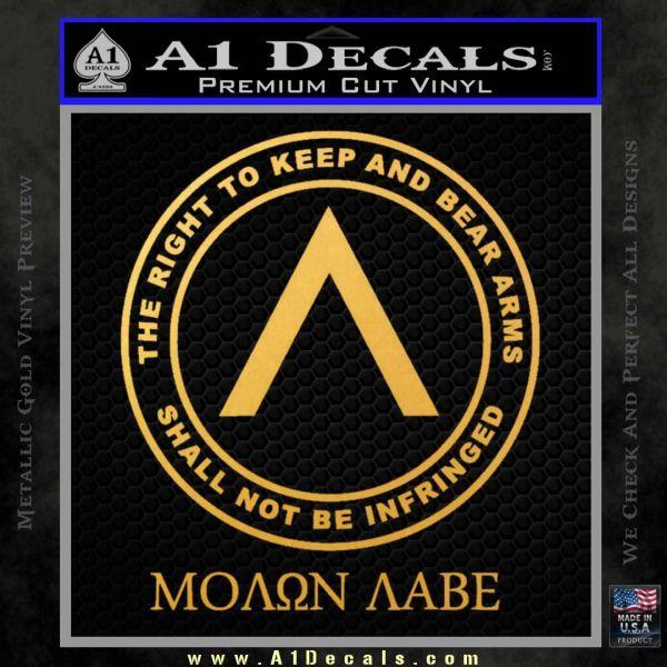 Molon Labe CR Decal Sticker Gold Vinyl