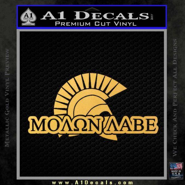 Molon Labe D4 Decal Sticker Gold Vinyl